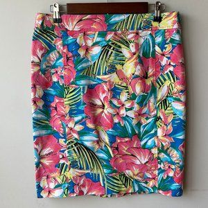 LOFT by Ann Taylor Floral Hibiscus Pencil Skirt